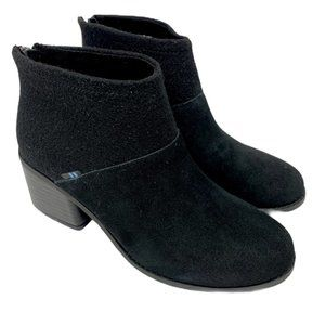 WOMEN TOMS LACY BLACK SUEDE FELT BOOTS SHOES USED